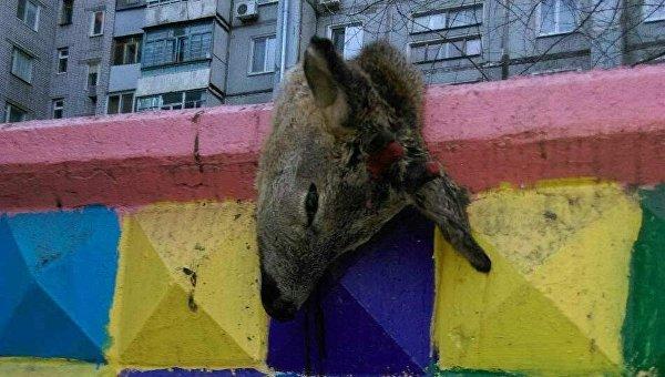 Труп оленя полдня висел на заборе возле детской площадки в Запорожье
