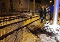 Lanos выехал на трамвайные рельсы в Киеве