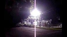 Момент аварии на электрической подстанции в Харькове