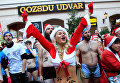Традиционный забег Санта-Клаусов в Будапеште