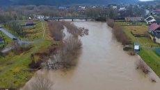 Начало наводнения на Закарпатье показали на видео с высоты птичьего полета