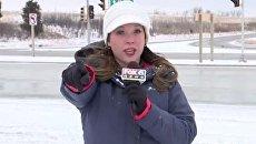 Американская телеведущая получила снежком в лицо
