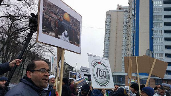В Киеве у посольства США проходит акция палестинцев