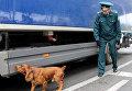 Инспектор-кинолог совместно с собакой проводят осмотр груза на таможенном посту в Республике Крым