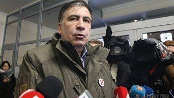 Лидер партии Рух новых сил, экс-председатель Одесской ОГА Михаил Саакашвили в фойе здания Генпрокуратуры, в Киеве, 18 декабря 2017 г. Михаил Саакашвили заявляет, что пойдет на допрос в СБУ, а в Генеральную прокуратуру Украины - нет.
