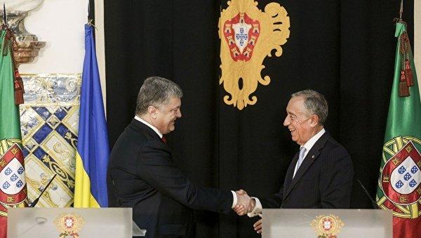 Петр Порошенко с президентом Португалии Марсело Ребелу ди Соза