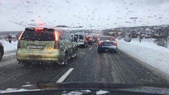 Заблокированная трасса Киев - Одесса из-за снегопада, 19 декабря 2017