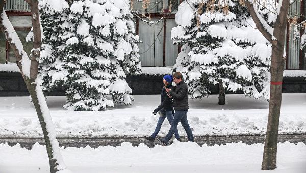 Снегопад в Киеве 19 декабря 2017 года