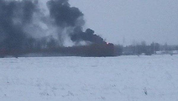 Пожар на АЗС возле военного аэродрома в Василькове под Киевом, 19 декабря 2017