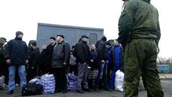 Украинские пленные во время обмена пленными, 27 декабря 2017