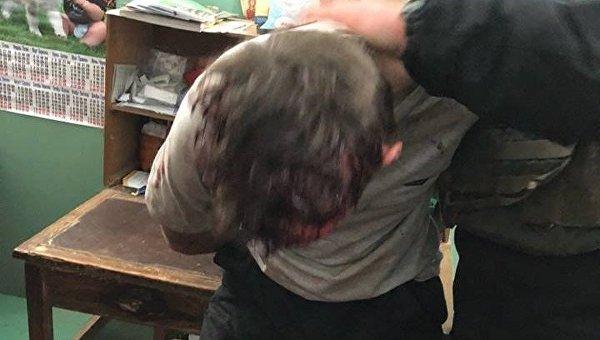 Задержанный злоумышленник в Харькове