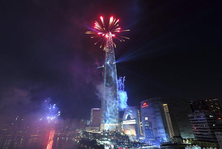 Первые минуты Нового 2018 года в Сеуле, Южная Корея