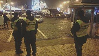 Новый год под охраной полиции и нацгвардейцев в ночь на 1 января 2018 в Киеве