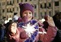 Празднования на Софийской площади в Киеве по случаю Нового 2018 года