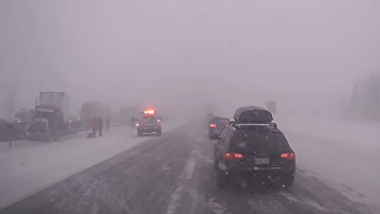 В сети появилось видео аварии с участием 20 авто. Видео
