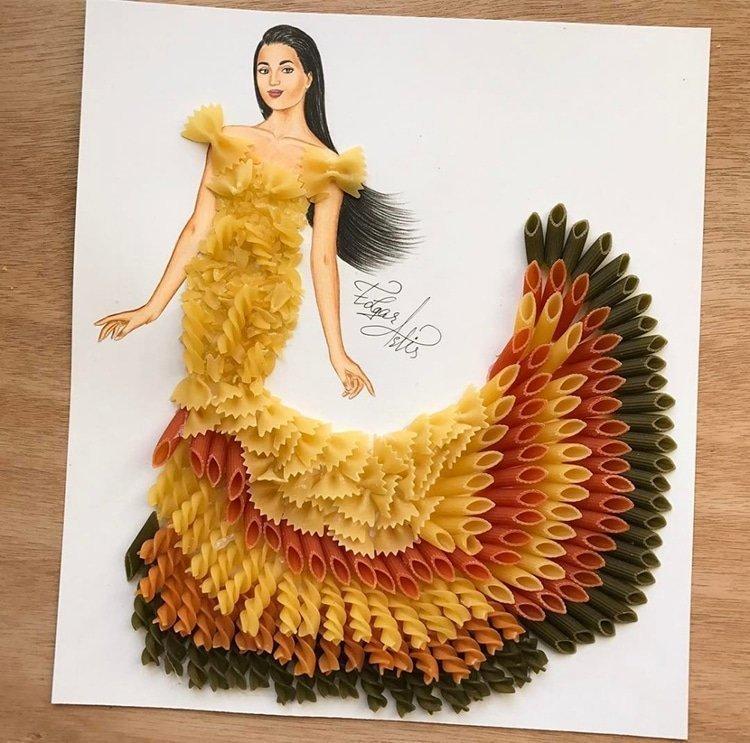 Армянский fashion-иллюстратор создаёт эскизы одежды из подручных средств