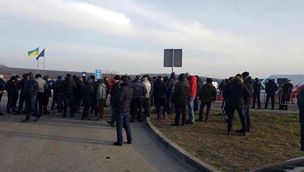 Акция протеста возле КПП Рава-Руская на границе с Польшей