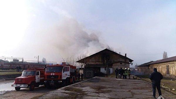 Пожар на складах в Одессе