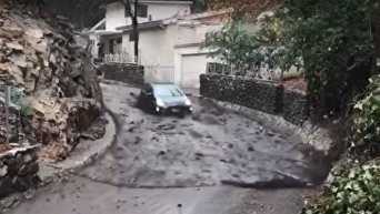 Бобслей с Priusв Калифорнии. Оползень снес авто по улице как пушинку. Видео