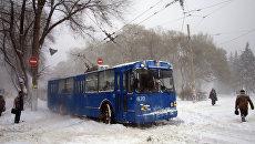 Сильный снегопад в Одессе