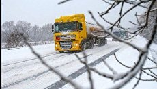 Заснеженная трасса в Украине