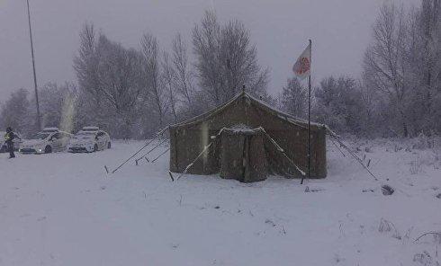 Ситуация на дорогах из-за снегопада 18 января 2018 г. Пункт обогрева