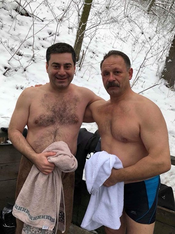 Народные депутаты Дмитрий Лубинец и Олег Барна, Крещение 19 января 2018 года