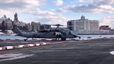 Появилось видео жесткой посадки военного вертолета в Нью-Йорке. Видео