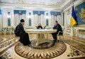 Президент Петр Порошенко, митрополит УПЦ Онуфрий и Ирина Геращенко