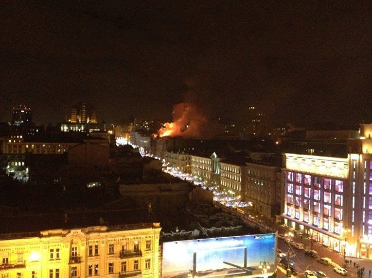 В центре Киева возник масштабный пожар