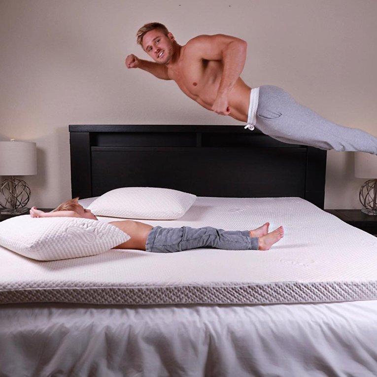 Акробат Уэйн Скивингтон из цирка Cirque du Soleil - самый популярный отец-одиночка Instagram