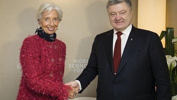 Президент Украины Петр Порошенко и директор-распорядитель МВФ Кристин Лагард на Экономическом форуме в Давосе
