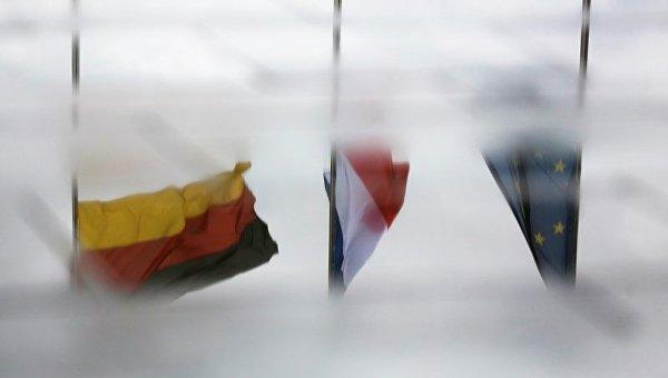 Флаги Германии, Франции и Евросоюза