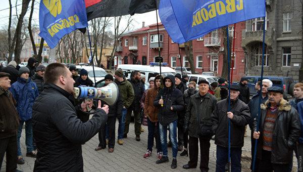 Националисты под генконсульством Польши в Одессе, 5 февраля 2018
