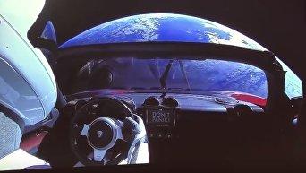 Опубликовано видео с Tesla на орбите Земли. Видео