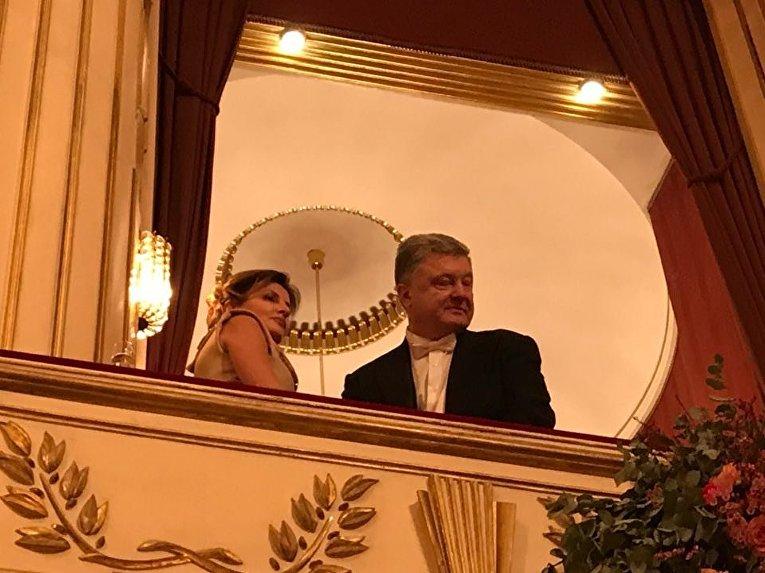 Марина и Петр Порошенко в ложе Венской оперы на Венском балу