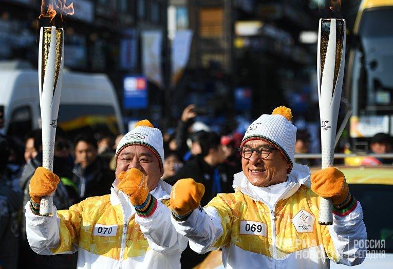 Эстафета Олимпийского огня в Пхенчхане