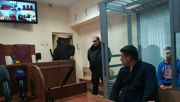 Судебное заседание по делу контрактника ВСУ Владимира Балабуха (в синей кофте), которого подозревают в убийстве человека в Киеве