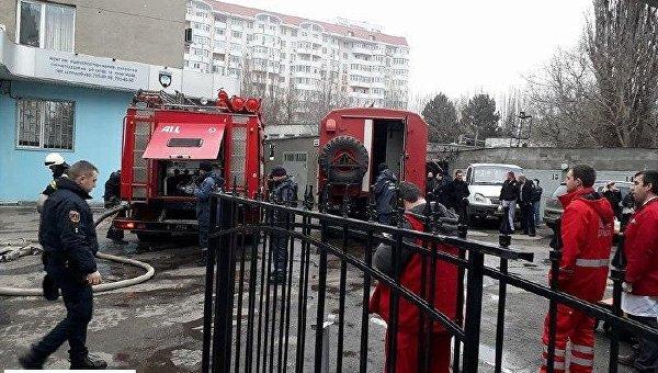 Пожар в здании управления полиции охраны в Одессе