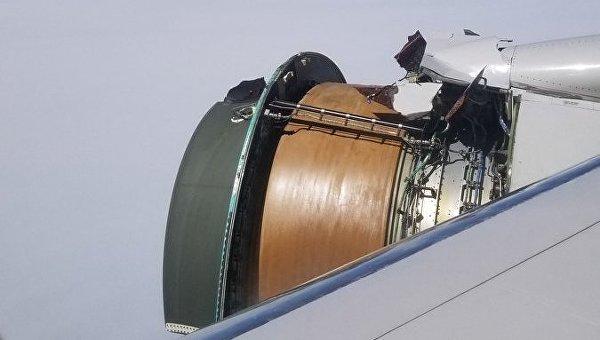 Появилось видео, как двигатель Boeing разваливается во время полета. Видео