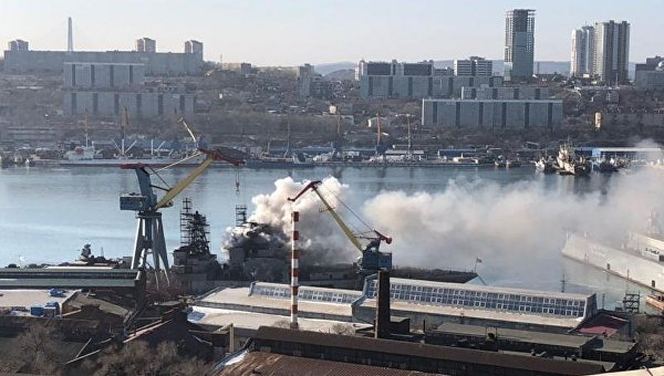 Пожар на противолодочном корабле ВМС России Маршал Шапошников