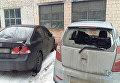 Мужчина разбил 13 автомобилей у здания Соломенского суда в Киеве