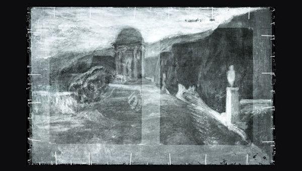 Исследователи нашли под картиной Пабло Пикассо Нищенка, сидящая на корточках перевернутый на 90 градусов пейзаж, который был написан другим художником