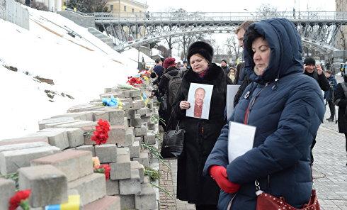 Родственники Небесной сотни в Киеве во время памятных мероприятий