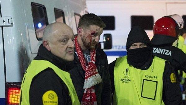 Раненный в ходе столкновений в Бильбао фанат московского Спартака