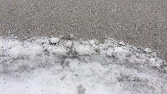 В Бурштыне выпал черный снег