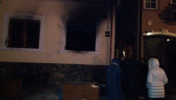 Пожар в здании офиса Общества венгерской культуры Закарпатья