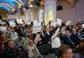 Работники СМИ на пресс-конференции Петра Порошенко