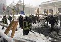 С огнем и задержаниями. МВД выложило кадры расчистки Грушевского. Видео