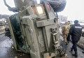 Военный бронеавтомобиль Кугуар перевернулся в Киеве
